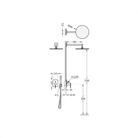 Tres Monoterm Душевой комплект, СМ Смеситель, 2 потребителя, верхний и ручной души 06218003