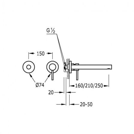 Tres Max Смеситель для раковины на 2 отв, излив 250 мм 06220003