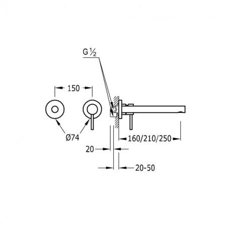 Tres Max Смеситель для раковины на 2 отв, излив 210 мм 06220071