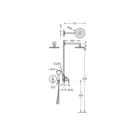 Tres Душевой комплект, СМ Смеситель, 2 потребителя, верхний и ручной души 06917501