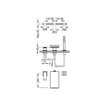 Tres Cuadro Смеситель для ванны на 3 отв 10616102