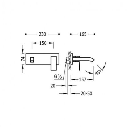 Tres Cuadro Смеситель для раковины на 2 отв, излив 157 мм 106200