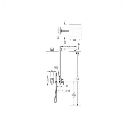 Tres Cuadro Душевой комплект, СМ Смеситель, 2 потребителя, верхний и ручной души 106980