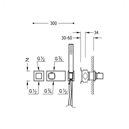 Tres Block System Душевой комплект, СМ Термостат, 2 потребителя, ручной душ 20725291