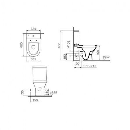 Vitra S50 Унитаз с бачком и сиденьем микролифт 9798B003-7201